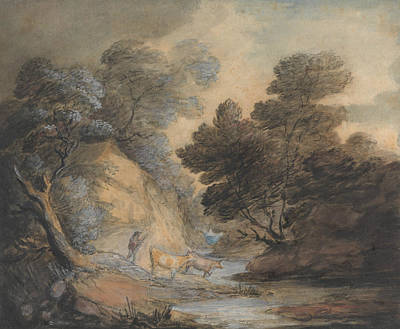 Cattle Watering By A Stream Art Print by Thomas Gainsborough