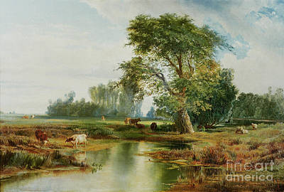 Riverbank Painting - Cattle Watering by Thomas Moran