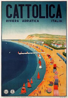 Royalty-Free and Rights-Managed Images - Cattolica, Riviera, Adriatica, Italia - Retro travel Poster - Vintage Poster by Studio Grafiikka
