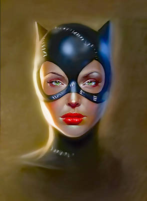 Cartoon Spider Painting - Catwoman Michelle Pfeiffer Painting In Hd by Jovemini ART
