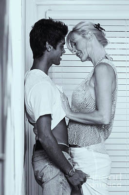 Photograph - Caucasian Older Blonde Woman Making Out With Younger Man by Amyn Nasser