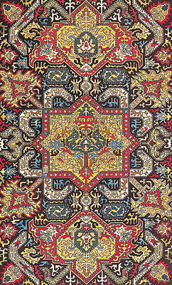 Tapestries Textiles Tapestry - Textile - Caucasian Silk Embroidery by Unknown