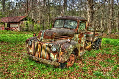 Photograph - Caught Behind 1947 Ford Stakebed Pickup Truck Art by Reid Callaway