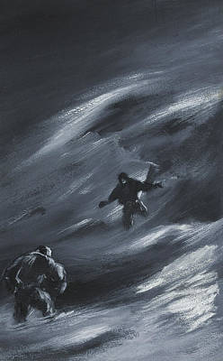 Action Drawing - Caught In A Blizzard by Edward Adrian Wilson