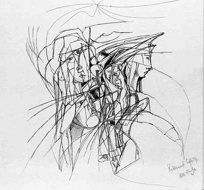 Abstract Forms Drawing - Caught In A Web by Padamvir Singh