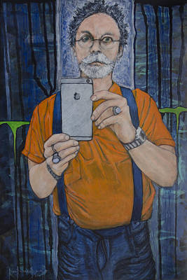 Painting - Caught In The Act Of Growing Old Self Portrait by Ron Richard Baviello