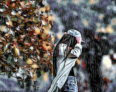 Mixed Media - Caught In The Rain by Pennie  McCracken