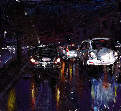Outdoors Painting - Caught In Traffic by Amani Al Hajeri
