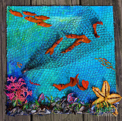 Wooden Fish Mixed Media - Caught Not Caught by Lori Kingston