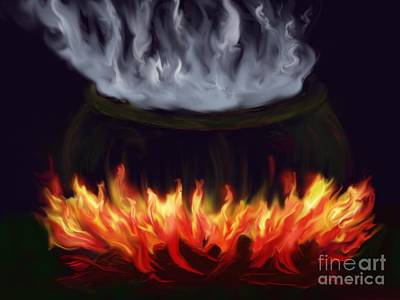 Wiccan Painting - Cauldron by Roxy Riou