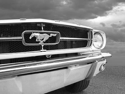 Photograph - Causing A Storm - 65 Mustang In Black And White by Gill Billington