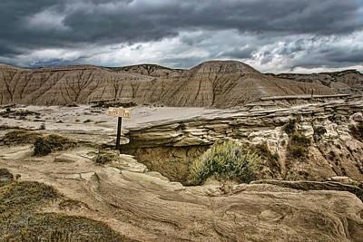 Ledge Photograph - Caution - Steep Cliffs - Toadstool Geologic Park by Nikolyn McDonald