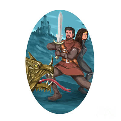 Knights Castle Digital Art - Cavalier And Lady Fighting Dragon Oval Watercolor by Aloysius Patrimonio