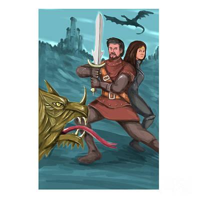 Knights Castle Digital Art - Cavalier And Princess Fighting Dragon Watercolor by Aloysius Patrimonio