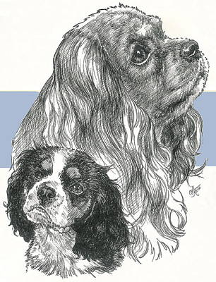 Mixed Media - Cavalier King Charles Spaniel And Pup by Barbara Keith