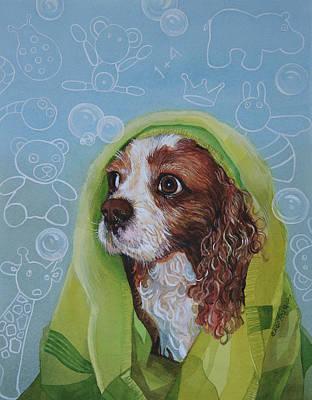 Painting - Cavalier king charles spaniel dog by Ezartesa Art