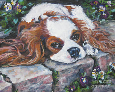 Cavalier King Charles Spaniel In The Pansies  Art Print by Lee Ann Shepard