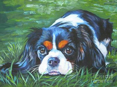 Pup Painting - Cavalier King Charles Spaniel Tricolor by Lee Ann Shepard