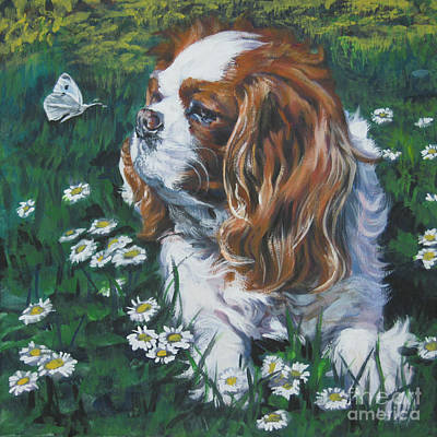 Cavalier Wall Art - Painting - Cavalier King Charles Spaniel With Butterfly by Lee Ann Shepard