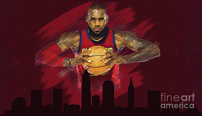 Mixed Media - Cavaliers Lebron James by Jerome Obille