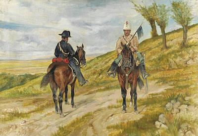 Giovanni Fattori Painting - Cavalleggero E Carabiniere A Cavallo by Giovanni Fattori