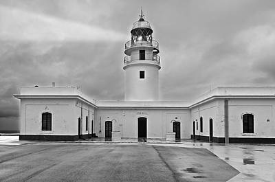 Photograph - Cavalleria Lighthouse In Black And White by Pedro Cardona Llambias