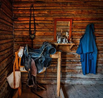 Log Cabin Interiors Photograph - Cavalry Gear by Mountain Dreams