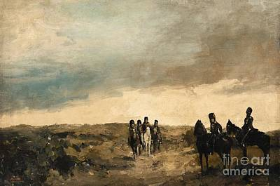 Cavalry Men Maneuvering In The Dunes Art Print