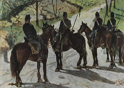 Reconnaissance Painting - Cavalrymen On Reconnaissance by Giovanni Fattori