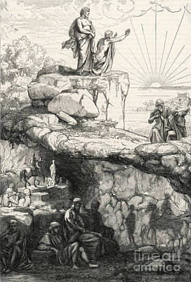 Plato Drawing - Cave Allegory Of Plato by Mary Evans Picture Library