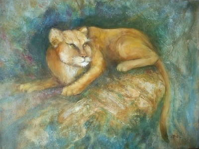 Lynn Burton Wall Art - Painting - Cave Cat by Lynn Burton