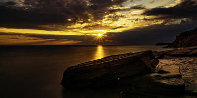 Photograph - Cavendish Sunrise Behind Passing Storm Clouds by Chris Bordeleau