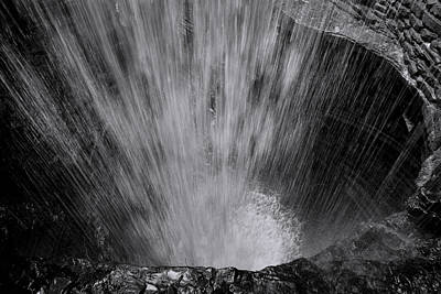 White And Black Waterfalls Photograph - Cavern Cascade - Black And White by Stephen Stookey