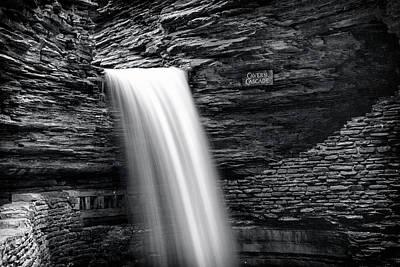 Cavern Cascade Bw - Watkins Glen Art Print by Stephen Stookey
