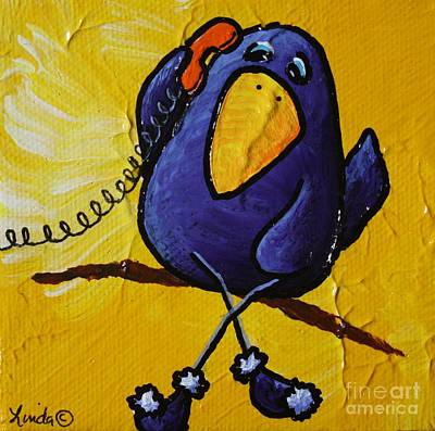 Cawing Painting - Caw Sometime by LimbBirds Whimsical Birds