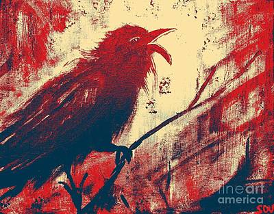 Black-billed Magpie Digital Art - Cawing The Storm - Abstract Red by Scott D Van Osdol