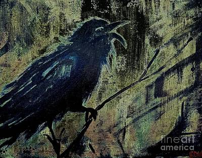 Black-billed Magpie Digital Art - Cawing The Storm - Midnight Cawing  by Scott D Van Osdol