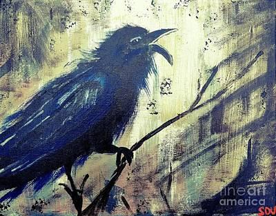 Magpies Digital Art - Cawing The Storm by Scott D Van Osdol