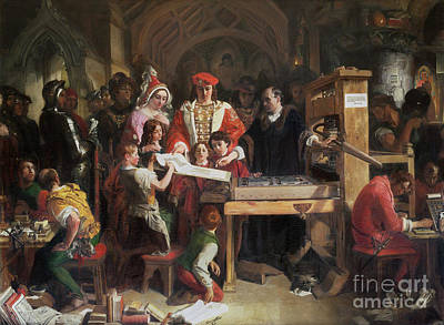 Elizabeth Edwards Painting - Caxton Showing The First Specimen Of His Printing by MotionAge Designs