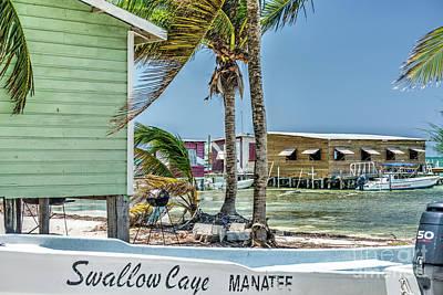Photograph - Swallow Caye Boat by David Zanzinger