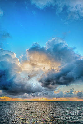 Photograph - Caye Caulker Vertical Clouds Sunrise by David Zanzinger