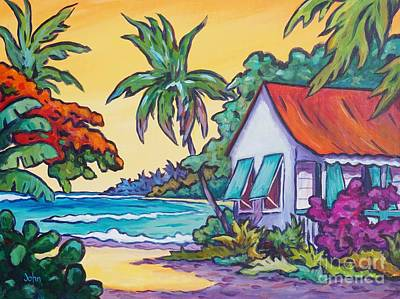 Comic Book Painting - Cayman Cottage On The Bay by John Clark