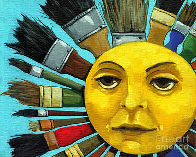 Brush Painting - Cbs Sunday Morning Sun Art by Linda Apple