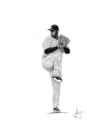 New York Yankees Drawing - Cc Sabathia by Joshua Sooter