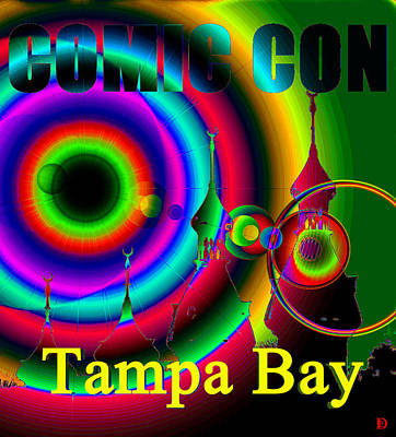 Comic Con Painting - Comic Con Tampa Bay Yellow Print by David Lee Thompson
