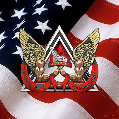 Digital Art - C.d.c.r. Crisis Response Team - C.r.t. Patch Over American Flag by Serge Averbukh
