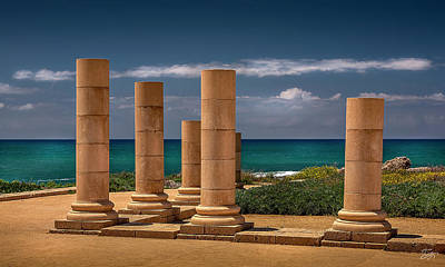 Photograph - Ceasaria Columns by Endre Balogh
