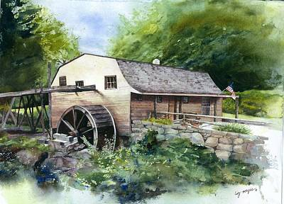 Grist Mill Painting - Ceased From Its Labors by Lizbeth McGee
