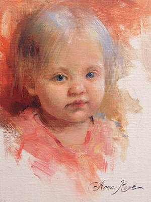 Portrait Painting - Cece At 14 Months Old by Anna Rose Bain