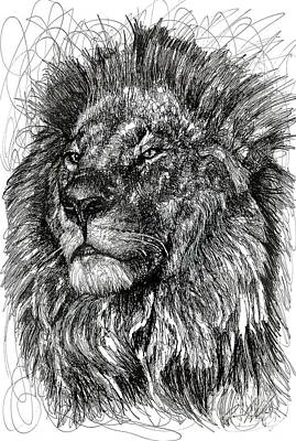 Animals Drawings - Cecil The Lion by Michael Volpicelli